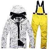UJDKCF Traje de esquí de Invierno Hombres Snow Pant Sets Skiing y Snowboard Ski Jacket + Pantalones de esquí Dark Grey XXXL