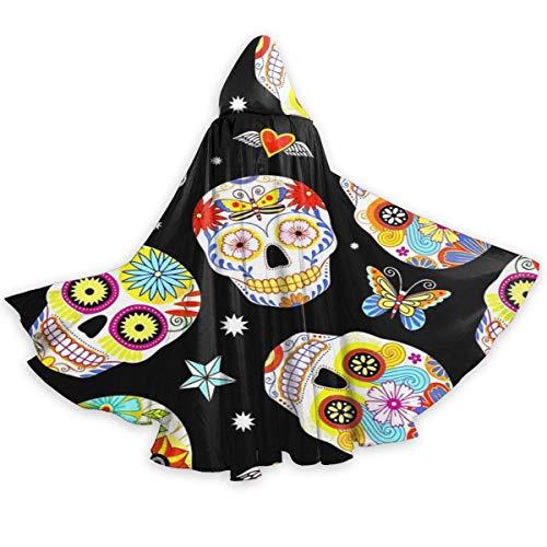Capa de Capa para Adultos, Calaveras de azcar mexicanas Tradicionales, Capa con Capucha Unisex, Capa, Capa de Bruja, Capa Larga, Capa de Fiesta de Cosplay de Halloween