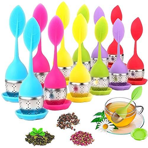 AUHOTA 12 Stück Teesieb mit Lebensmittel Silikon Griff, Edelstahl Hübsches Teeei mit dem Auffangbehälter für Losen Tee Leaf, Teefilter mit Untersetzer für Teeliebhaber (6Farben, Blattform)