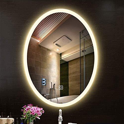 FGDSA Espejo con Luz Led, Interruptor Táctil De Tocador Sin Marco Ovalado Montado En La Pared, Baño, Dormitorio (Tamaño: 50 * 70 Cm)