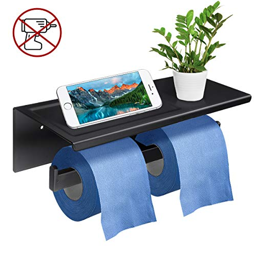 GEMITTO Toilet Paper Holder, SUS304 Stainless Steel Wall Mounted Bathroom Tissue Shelf with Phone Tray, 2 Ways to Install with Drill-Free Glue & Screw Parts (Black, Double Rolls -11.6x4.3x3.7 inch)