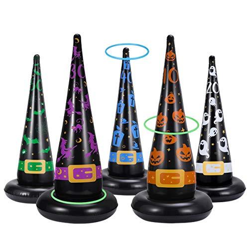 CLISPEED Juego de anillos para Halloween, 5 unidades, bolsa de bruja hinchable con 10 anillos de plástico, para Halloween, fiestas, juegos, para interior y exterior