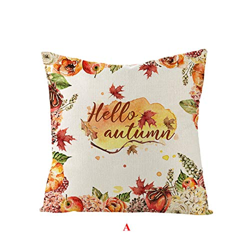 UMFun Thanksgiving Pumpkin Sunflower Pillowcase Sofa Cushion Flax Pillowcase 4545cm Pillow Case Home and Garden