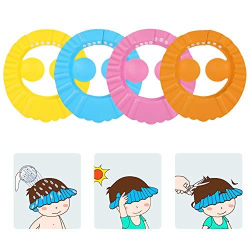 guangxichuangshengxinfu 4pcs bébé mignon enfants shampooing réglable bain bain bonnet de douche chapeau lavage cheveux bouclier(4pcs)