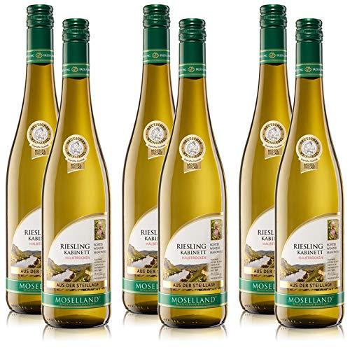 6 Flaschen Moselland Riesling Kabinett, Steillage, halbtrocken (6x 0,75 l) Weisswein Mosel