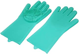 MADMAX 裏表使える万能 シリコングローブ ハンドブラシ キッチン手袋 滑り止め付き グリーンMM50-0443-GN