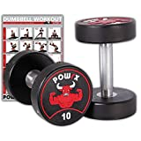 POWRX - Mancuernas con revestimiento de goma 20 kg set (2 x 10 kg) + PDF workout (Negro)