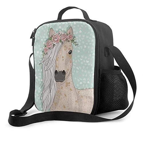 Fairy Tale Background Lunch Bag Cooler Bag Tote Bag Insulated Lunch Box Water-Resistant Thermal Lunch Bag Cute Horse with Flowers Lunch Bags for Women/Men/Picnic/Boating/Beach/Fishing/Work
