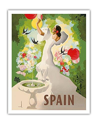 Pacifica Island Art Spanien - Spanische Tänzerin mit Brunnen und Vögel - Vintage Retro Welt Reise Plakat Poster von Marcias José Morell c.1941 - Kunstdruck - 28cm x 36cm