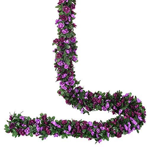 YQing 4 Piezas Artificiales Rosas Flores Guirnalda, 250cm Rosas Falsas Artificial Flor Rosa Vid Planta con Hojas de Hiedra Verde para la decoración del jardín del Banquete de Boda (Púrpura)