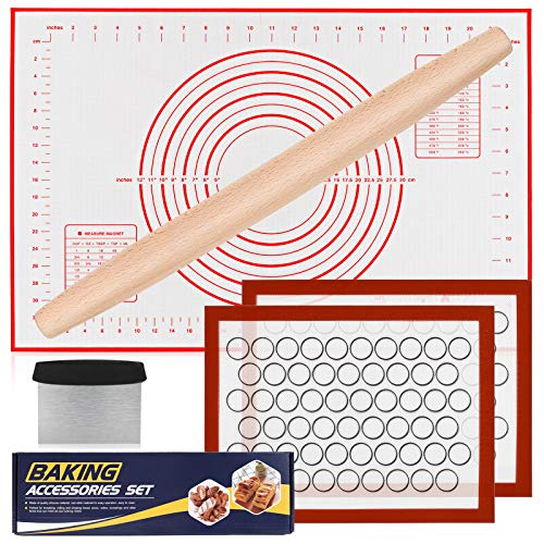 Silicone Baking Mat Set, Nonstick Dough Rolling Pastry Mat for Cookie Macaroon Pie Crust Pizza, Heat-resistant Silicone Baking Sheets for Oven, Silicon Macaroons Baking Mats with Wood Rolling Pin