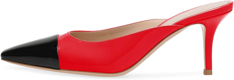 ROSEIDOL Women's Square Toe Slip On Patent Stiletto Mid Heel Slides Mules Sandals 2.5 Inch