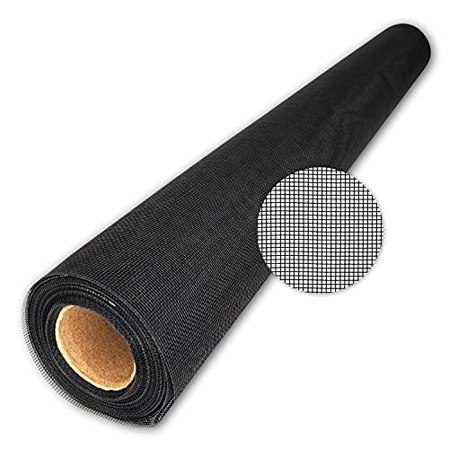 TESO Insektenschutzgaze, Fliegengitter Fiberglasgewebe, Zuschnitt 1,40 x 5,00m in schwarz, hochwertig, kein Ausfransen beim Zuschneiden, vielseitig einsetzbar, UV-beständig,reißfest