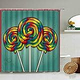 None brand Cartoon Regenbogen Farbe SüßIgkeiten Lutscher Duschvorhang Bunte Kinder Badezimmer Badewanne Kunst wasserdichte Tuch VorhäNge Mit Haken-W150xH180cm