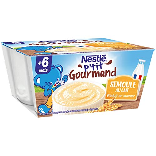 Nestlé Bébé Ptit Gourmand Semoule au Lait - Laitage - 4 x 100g - Dès 6 mois