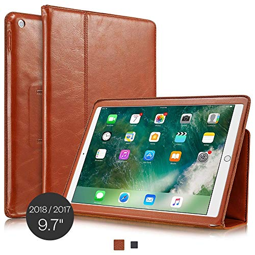 KAVAJ iPad Case 2018/2017 Leather Cover Berlin for Apple iPad Cognac-Brown Genuine Cowhide Leather with Built-in Stand Auto Wake/Sleep Function. Slim Fit Smart Folio covers iPad 9 7 6th & 5th Gen.