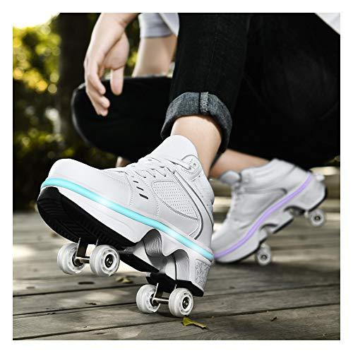 Schuhe Mit Rollen 2 in 1 Multifunktionale 4 Rad Schuhe Mit Rollschuhe Verformung Schuhe 7-Farbwechsel Lichtleiste Verstellbare USB Wiederaufladbar Für Männer Frauen Und Kinder,A-40 EU