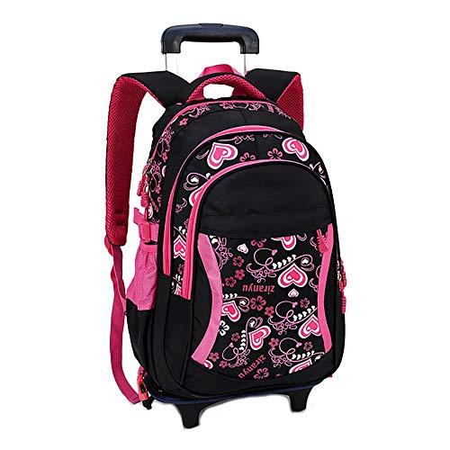 RMXMY Große Kapazität Handtasche Tasche Trolley Abnehmbare Schulmädchen 1-3 Grade Kinder Nette Prinzessin Sechs Runden Treppen steigen Tow Box Roller Bag (Color : B)