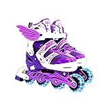 Patines en línea para niños y adultos, unisex, ajustables, patines para niños, ideal para principiantes, patines cómodos, patines en línea para niñas y niños, morado, M(34-37)
