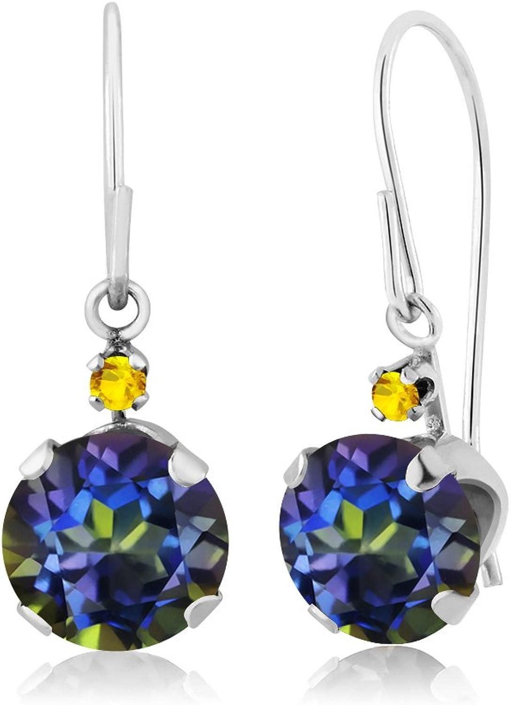 1.66 Ct Round bluee Mystic Topaz Yellow Sapphire 14K White gold Earrings
