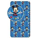 Mickey Mouse - Sábana bajera para cama individual (90 x 200 + 25 cm)