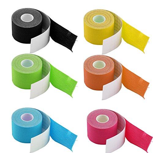 JUEYAN 6 Rollen Kinesiologie Tape 5 X 500 CM Sporttape Wasserdicht Elastisches Kinesiology Sport Tape Tapeverband aus Baumwolle - 7