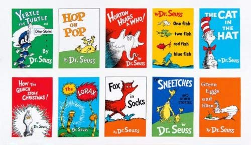 Dr. Seuss Celebrate Seuss Book Blocks 24'' Panel Adventure Fabric