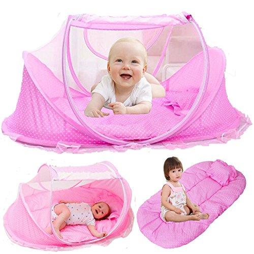 Baby Travel Bett, grazechoice® Portable Baby Bettwäsche, Reisen Zusammenklappbar Bettchen, Babybetten Neugeborene faltbar Krippe mit Moskitonetz für 0–24Monate Pink