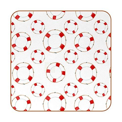 6 rutschfeste Untersetzer für Getränke, hitzebeständig, dekorativ für Zuhause, quadratische Untersetzer für Schalen, Tassen, Gläser, roter Rettungsring