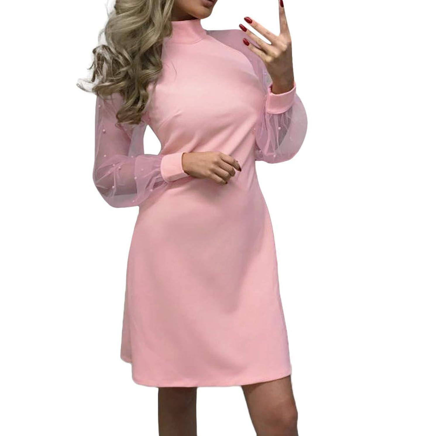 LEXUPA Women's Pearl Beading Mesh Sleeve Dress Long Sleeve A-Line Mini Party Dress