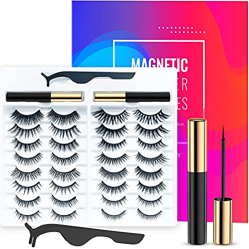 Magnetic Eyelashes with Eyeliner Kit, 16 Pairs of Different Styles Reusable 3D 6D Magnetic Eyelashes with 2 Special Magnetic Eyeliners and Tweezers, Easy to Apply with Natural Look, No Glue Needed