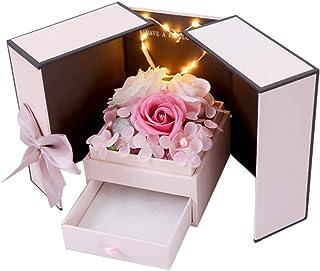 Phonleya Joyero de Flor de Rosa Artificial - Regalo romántico de Flor de jabón perfumado con lámpara para niñas Día de San...