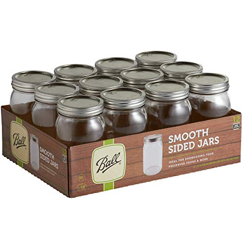 Ball 32 oz Quart Wide Mouth Smooth Sided Glass Canning Jar with Silver Metal Lid and Band - Bulk - 12  Case