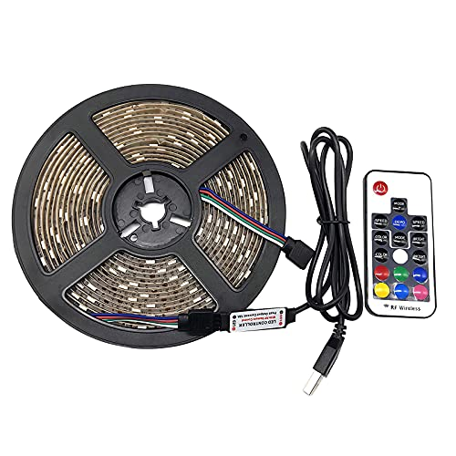 Topwor Tira LED, 2m Luces LED Habitacion Tiras LED 5050 RGB con Control Remoto impermeable IP65 Luz LED Adhesiva 18 Colores y 4 Modos Led Luz Iluminación Para Pared, Baño...