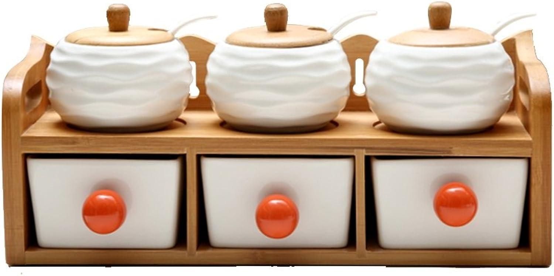 LS Shelf Bamboo Ceramic Glass 2F Bamboo X1 Condiment Jar X3 Drawer X3 Kitchen Solid Wood Multi-Function Rack Size  32  12  13cm Modern Retro Style Fashion Trend Rack (color   Ripple)