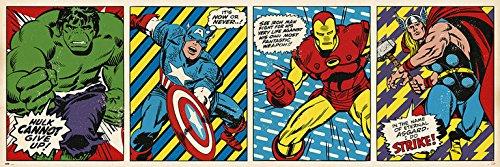 Marvel Comics Langbahnposter Retro Hulk, Captain America, Iron Man & Thor