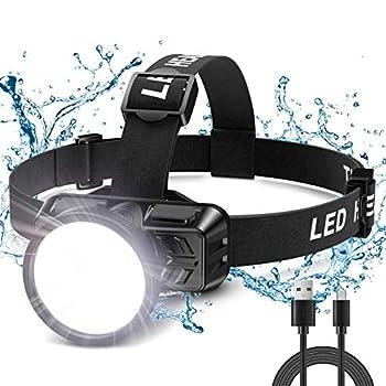 Cocoda Lampe Frontale, Super Brillante 200 LM Torch Frontale LED Puissante Rechargeable USB pour Adulte & Enfant, 4 Modes d'Éclairage, Faisceau Réglable à 90°, Étanche IP42 pour Pêche Camping Cyclisme