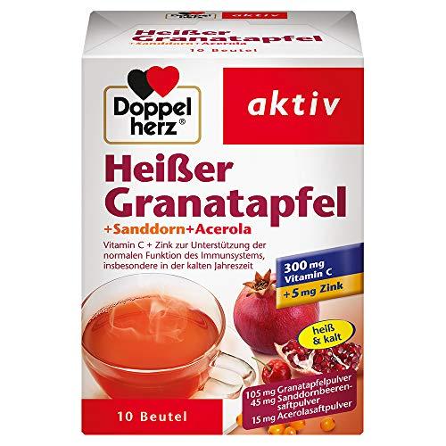 Doppelherz Heißer Granatapfel mit Vitamin C – Zur Unterstützung der normalen Funktion des Immunsystems – Plus Sanddorn und Acerola – 1 x 10 Beutel