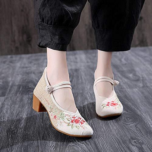 Linge à la Main en Coton de Coton Femmes brodées Brodés Talons de 4,5 cm Pompes à Toile pour élégantes Femmes Vieilles Chaussures Chunky de Beijing Ylcxdm (Color : Beige, Size : 37 EU)