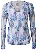 Lucky In Love Floral Fantasy Bloom Mesh Overlay L/S Top (Small)