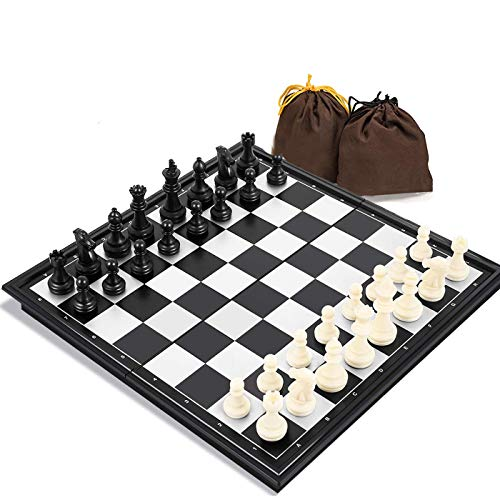 Travel Chess Set for Adults and Kids, 9.8 inch Magnetic Chess Board with Portable Folding Board Games for Family