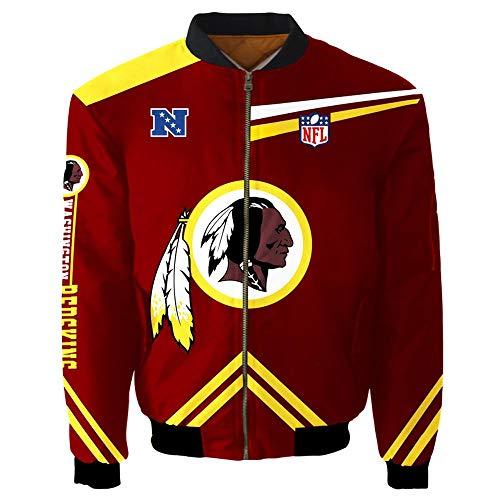 NFL Herren Jacke - Washington Redskins Fans Beiläufige Leichte Sportjacke Langarm Pilotenanzug Mit Reißverschluss-Taschen B-M