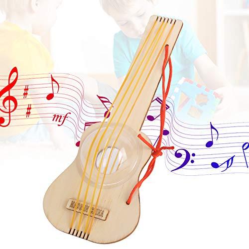 Diy houten speelgoed kleine gitaar, 4 stuks gitaar monteren houten speelgoed wetenschap educatief kinderen model diy speelgoed jam kidi muzikale gitaarband