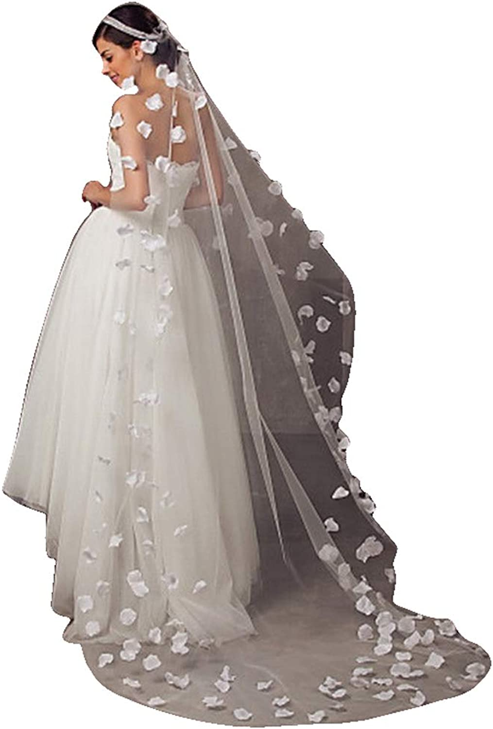 Fenghauvip Flowers and Peals Wedding Veil Cathedral Length 1 T 5 M Veils for Bridal