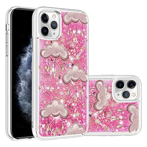 For iPhone 11 Pro Max Case, 3D Painted Glitter Quicksand Flowing Liquid Bling Sparkle Cute Clear Transparent TPU Bumper Gel Silicone Shockproof Cover Protective Case for Girls Women Clouds