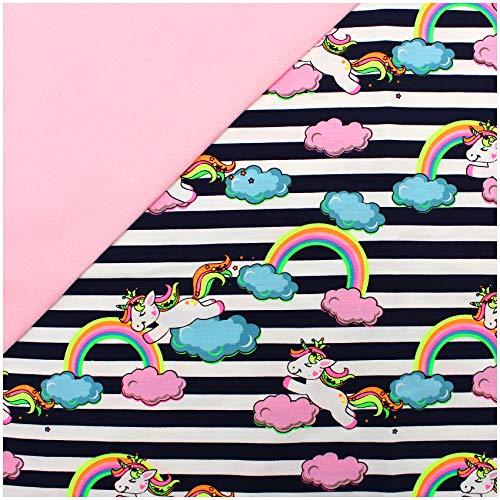 Stoffpaket 0,5m Jersey + 0,5m Bündchenstoff zum Nähen von Kinderkleidung Kinderstoff Jerseystoff (Einhorn Regenbogen + Rose (Set07))