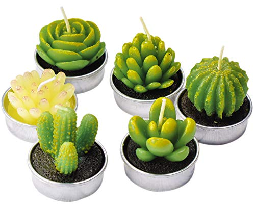 LASENTEUR Cactus Tealight Candles Handmade Delicate Succulent Cactus Candles for Birthday Party Wedding Home Decoration Gifts - 6 packs