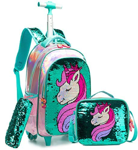 Egchescebo School Kids Rolling Backpack for Girls and Boys With Wheels Trolley Wheeled Backpacks for Girls and Boys Travel Bags 3PCS Girls Backpack With Lunch Box Green