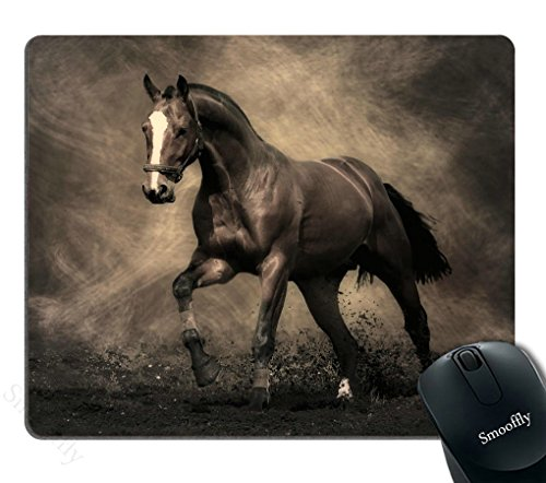 Smooffly Anime Mouse Pads Custom,Vivid Wild Horses Print, 9.5 X 7.9 Inches, Brown Horse