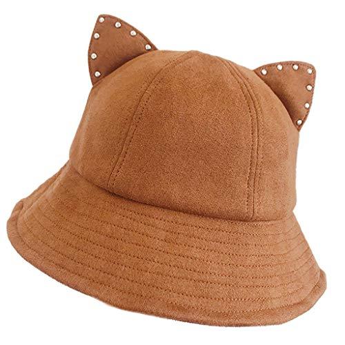 Huluda Chapéu de pescador feminino de desenho animado bonito com orelhas de gato e strass curto Brum Party